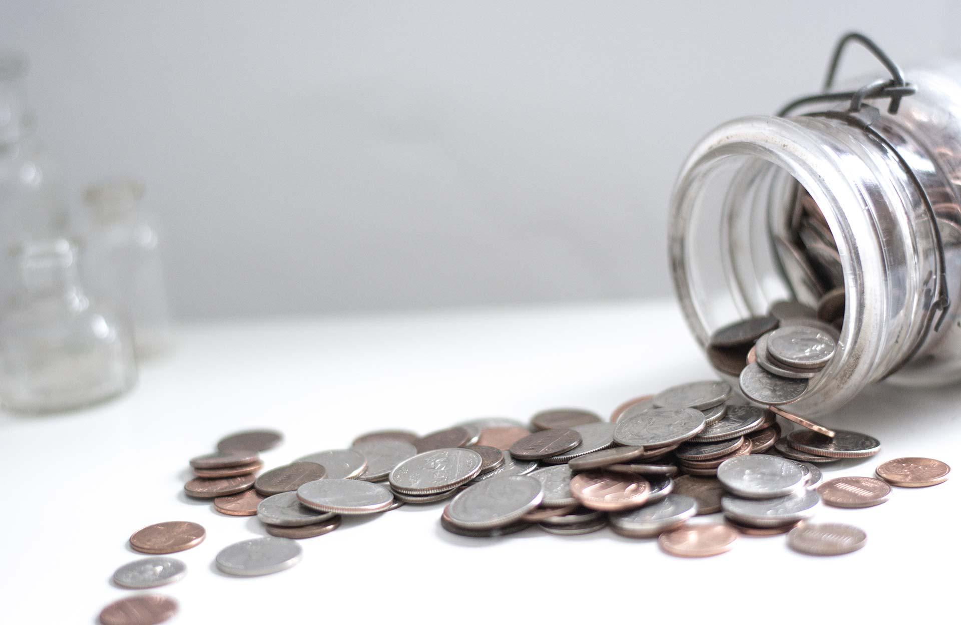 cash glass jar